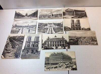 Lot Of 11 Black & White Vintage Paris Postcards