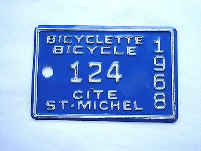 1968 CITE ST.MICHEL Bicycle License Plate # 124
