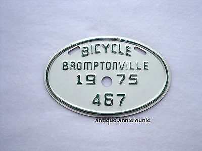1975 BROMPTONVILLE Bicycle License Plate # 467