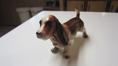 Vintage Basset Hound Figurine, # E-2472, 3 1/2 in. Tall & 6 1/2 in. Long