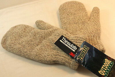 New Wool Mittens Winter Gloves 3M Thinsulate Promark Outdoor Wells Lamont Sz L