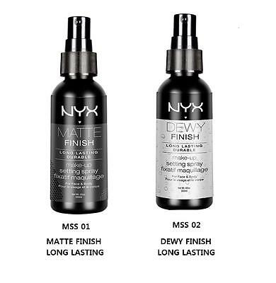 2 NYX Makeup Setting Spray MSS 01&02 Matte/Dewy Finish (Long Lasting)Simply Chic