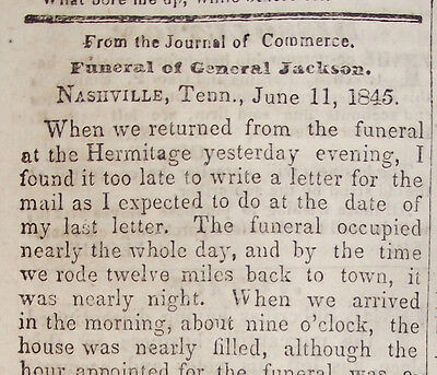 6/28/1845  Clyde Ny New York Newspaper ~ Funeral Of Andrew Jackson