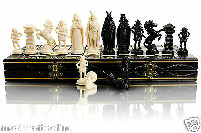 """GREAT ''VIKINGS'' CHESS SET 42cm/16"""" WOODEN CHESSBOARD & PLASTIC PIECES"""