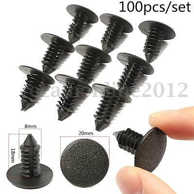 100Pcs 20mm Car Auto Pusher Card Buckle Hole Trim Boot Rivet Push Clip Fasteners