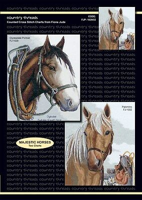 Majestic Horses - 'Combo' Cross Stitch Chart from Country Threads. 2 Designs