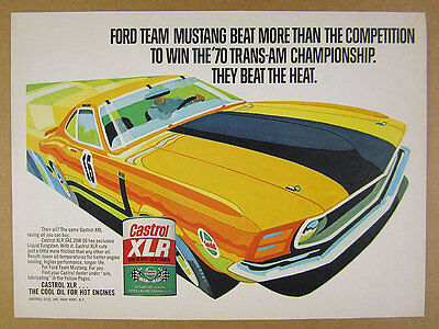 1971 Ford Boss Mustang Trans-Am Series car art Castrol Oil vintage print Ad