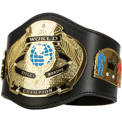 Title Boxing World Champion Authentic Detailed Leather Mini Belt - Black