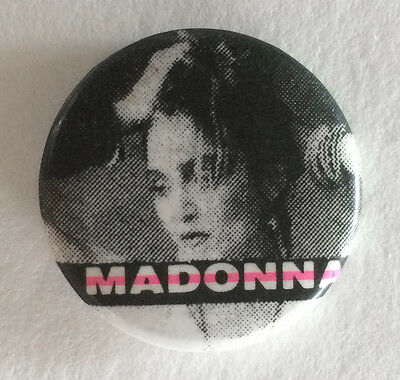 "Vintage Early 1980s Madonna pinback button pin 1"" B&W pink Photo Badge STUNNING"