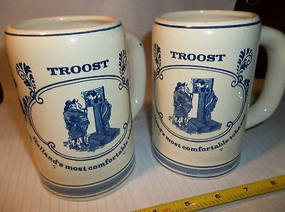 2 Vintage Troost Tobacco Mugs Blue Delft Windmill Rack Hollands Most Comfortable
