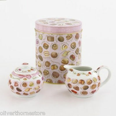 Chocolates Design Sugar Bowl & Creamer in Decorative Tin By Paul Cardew Design
