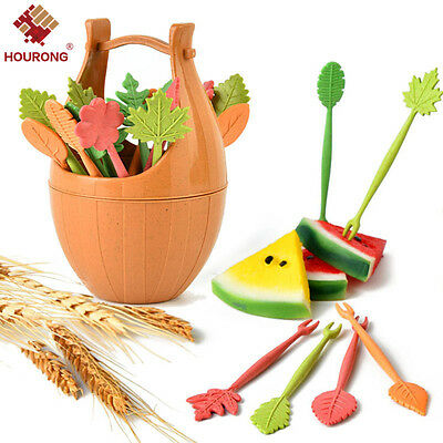 16pcs Green Biodegradable Natural Wheat Straw Leaves Fruit Fork Set Party Cake
