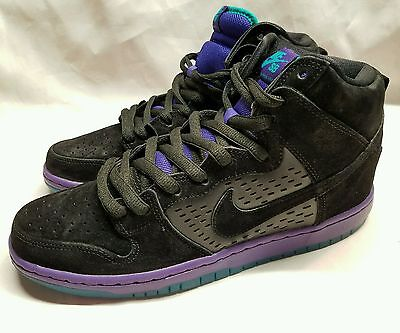 Nike SB Dunk High Premium SB Black Grape Skate Skateboarding Shoes Retail $125