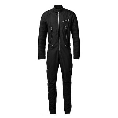 BNWT BALMAIN x H&M Black Quilted Pockets Zippers One Piece Elastic Jumpsuit S