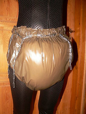 Adult Sissy Baby Thick PVC Spreading diaper Rubber lockable incontinence