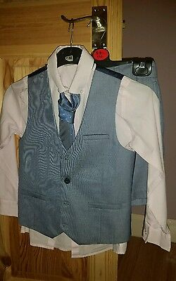 Next Boys Summer Wedding Occasion Suit Set Shirt Waistcoat Tie Shorts 7 Years