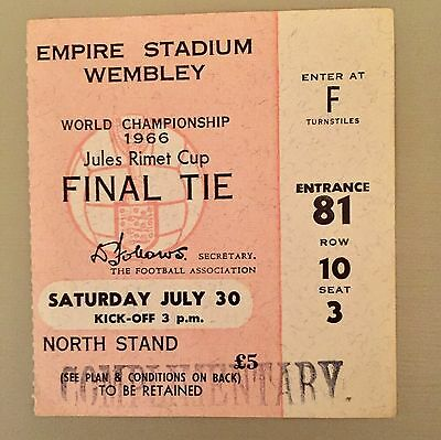 World Cup Final 1966 Ticket England V Germany