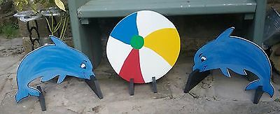2 x DOLPHIN & BEACH BALL Horse show jump fillers pony show farm event shop sign