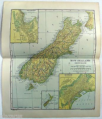 Original 1912 Map of New Zealand - South Island - by Dodd Mead & Company