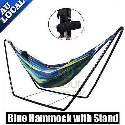 Double Hammock with Frame Steel Stand Camping Outdoor Lounge Chair Blue Hammock