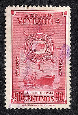 1948 Venezuela 90c ist Anniv of Greater Colombia Merchan SG 801 FINE USED R20517