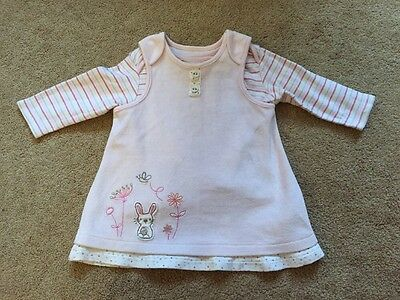 Baby Girls Marks & Spencer's M&S Velour Pinafore Dress & Top Pink 3-6 Months