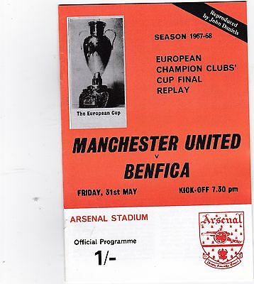 1968 European Cup Final REPLAY Manchester United v Benfica at Arsenal