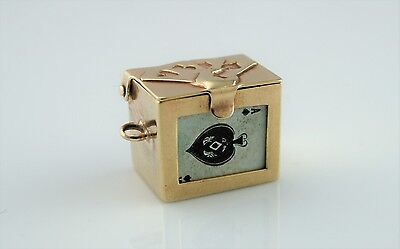 Rare Fine Vintage 9ct Yellow Gold Opening Playing Card Box Charm by GJLTD