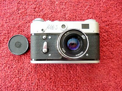 FED 3 RANGEFINDER 35mm CAMERA WITH CASE AND INSTRUCTION LFT UNUSED.