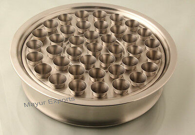 "Communion Tray 12.2"" - with holes- Matte Polish with 40 Steel Cup Set Free"