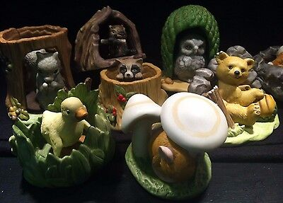 WOODLAND SURPRISES LOT OF 7 ANIMALS - 1980's JACQUELINE SMITH by FRANKLIN MINT
