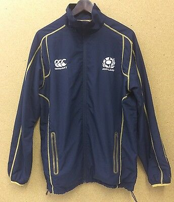 Canterbury Scotland Rugby Training Jacket Full Length Zip Navy & Gold Mens L