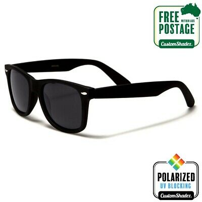 Polarised Retro Sunglasses - Matte Black Frame- Mens / Womens - Free Postage Aus