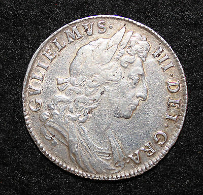 King William III Silver Half Crown 1698 DECIMO 1st Bust, Large Shields GVF