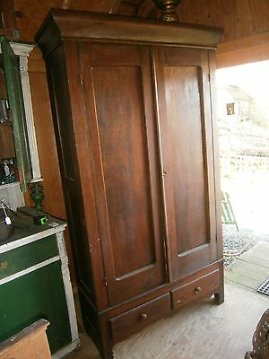Antique 2 Door Knock Down Wardrobe Oak 2 Drawers