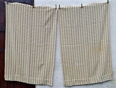 Pair Vintage Retro Mid Century Curtains Brown Cream Oatmeal Golden Leaves