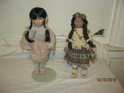 """Pair of Native American Dolls """"Linda Mason  Many Stars"""" & Unmarked Doll w/stands"""