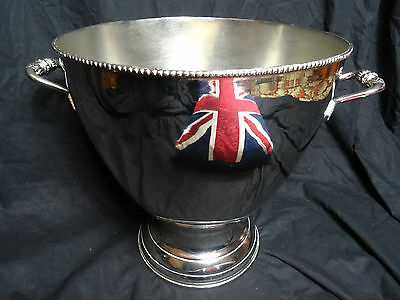 Large Regency Style Round Magnum Champagne Silver Plate Bucket Wine Hotel Cooler