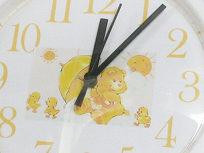 Care Bears Clock Wall Sunshine Hard to Find In Original Box Baby Nursery Yellow
