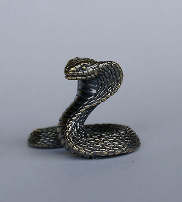 Tiny Solid Bronze Cobra Snake by N.Fedosov.