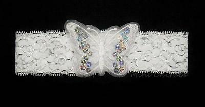 Baby Girls White Stretch Lace Headband With Sequin Sparkly Butterfly Christening