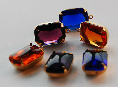 VINTAGE ANTIQUE GLASS OCTAGON PENDANT BEAD 18x13mm • ASSORTED COLORS • BUFF TOP