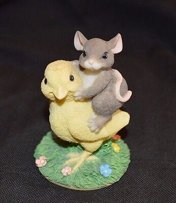 Charming Tails Chicken Back Ride Mouse & Chicken Figurine In Box