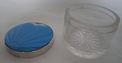 Art Deco 1934 Guilloche Enamel & Solid / Sterling Silver Jar / Container