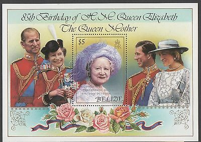 Belize. 1985 The 85th Anniversary of the Birth of H.M Queen Eliz. Minisheet. MNH
