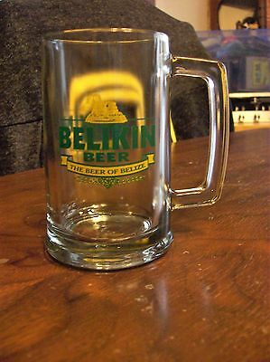 Belikin Beer Glass Mug THE BEER OF BELIZE Central America Brewery  5 inch tall