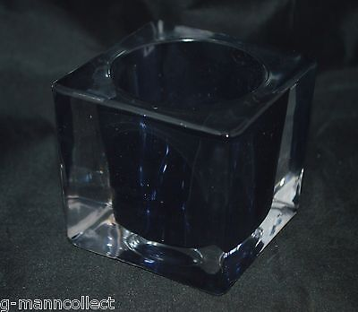 Fitz and Floyd Black Cube Glass Votive Candle Holder NIB