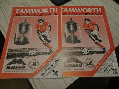 2  Tamworth  1986-7  Cups  //  Mile Oak Rovers / Wolverton Town //