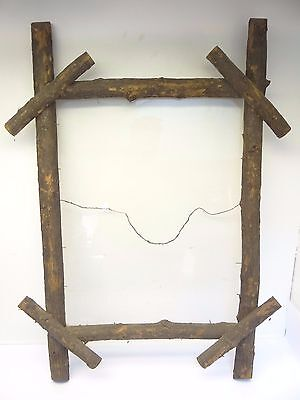 Vintage Natural Wood Wooden Glass Homemade Handmade Wall Hanging Picture Frame
