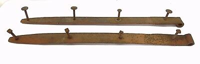 Pair of Wrought Iron Metal Barn Strap Straps Door Hardware Parts Old Brown Used